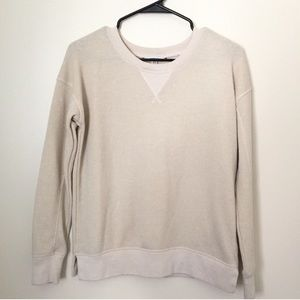 American Eagle Cream Shimmery Crew Neck Sweater XS